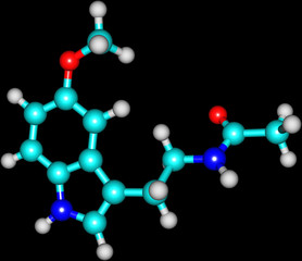 Molecule of Melatonin isolated on black