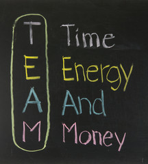 Chalk drawing - TEAM: Time,Energy, And, Money
