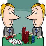 businessmen playing poker cartoon