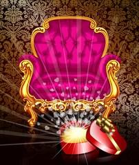 Ярко розовый стул и открытая коробка сердце