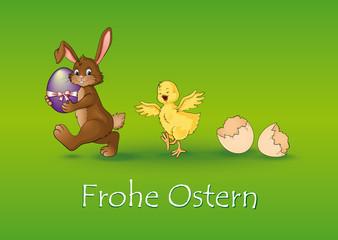 Frohe Ostern Postkarte Grußkarte