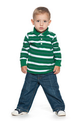 Fashion preschool boy on the white