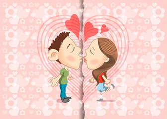 Vector illustration of kissing with background