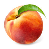 Peach with leaf isolated on white