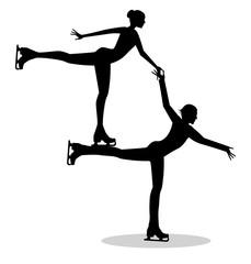 silhouette di coppia di pattinatori sul ghiaccio