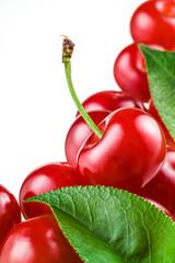Sour cherry on white background. Fruit macro