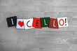 I Love Cello, sign series for music, musical instruments