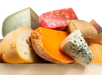 Cheese board - various types of soft and hard cheese. Internatio