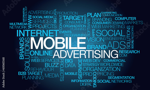 Mobile advertising word text tag cloud illustration