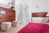 Fototapety Red carpet in bright bathroom
