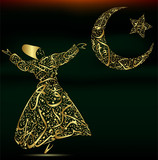 calligraphy, dervish, moon and star poster