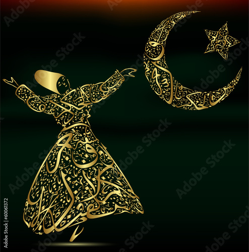 calligraphy, dervish, moon and star