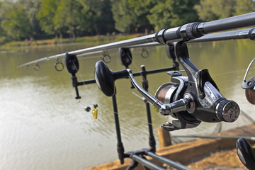 Fishing rod and reel under water