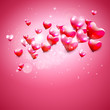 Valentine's Day pink background with hearts