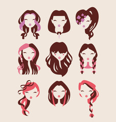 fashion girls with hair styles icon set vector illustration