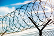 fence with barbed wire - 60063933