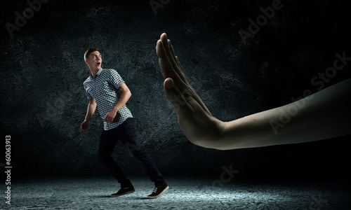 Man running away