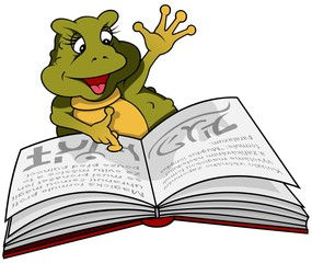 Frog Binky And Book - Cartoon