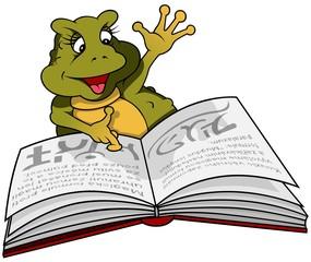 Frog Binky And Book - Cartoon