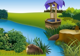 Summer Landscape and Rivulet - Cartoon Background