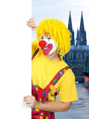 Clown mit Schild