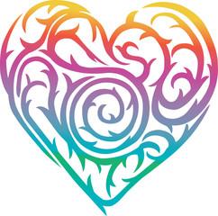 rainbow heart with thorn design