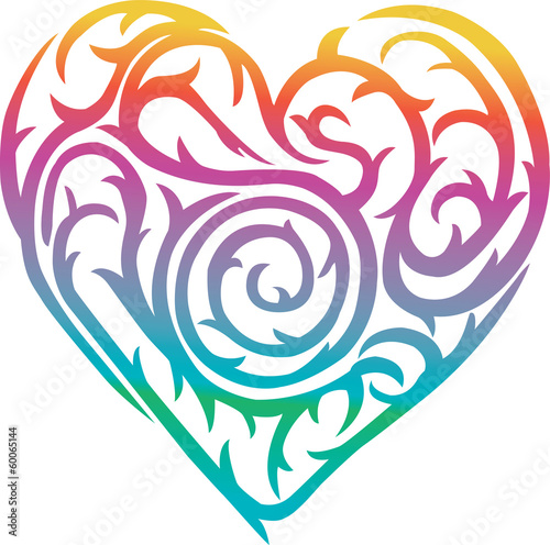 rainbow heart with thorn design