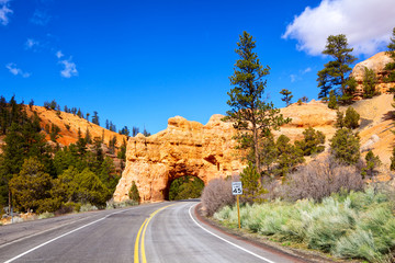 Red Arch road tunnel on the way to Bryce Canyon, Utah, USA