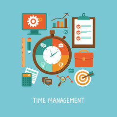 Vector concept in flat style - time management