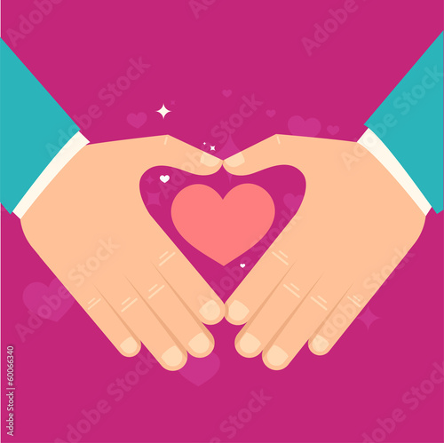 Vector valentine day greeting card in flat style