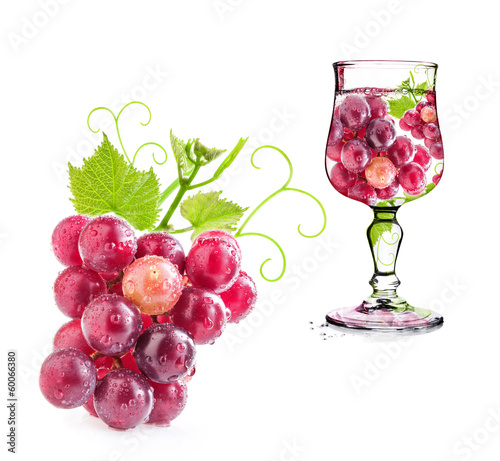 Grapes in glass Isolated on white background