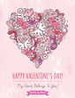 pink grunge background with valentine heart of butterflies,  vec