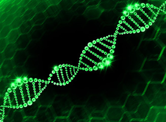 Green DNA Helix Molecular Background