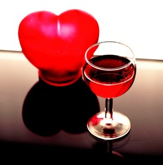 Weinglas mit Herz