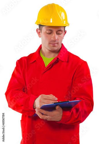 contractor holding and writing clipboard