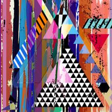fond abstrait, avec des traits, des taches, des rayures et triangl