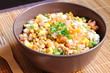 Lentil salad with tuna, tomato, onion, bell pepper and corn