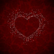 heart burst on dark red background