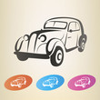 old retro car vector symbol