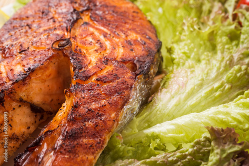 Baked trout steak. Closeup