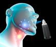 Mal di gola infiammazione dolore, spray nebulizzatore