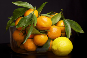 A jar of mandarin with lemon