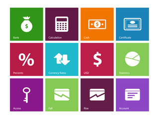 Economy icons on color background.