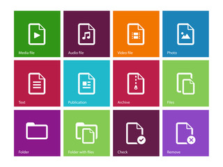 Set of Files icons on color background.