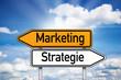 Wegweiser mit Marketing und Strategie