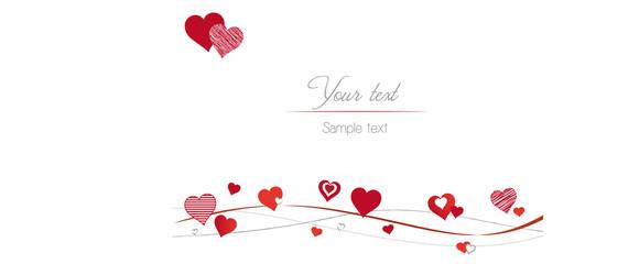 Karte - Herzen auf Linie