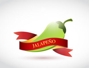 jalapeño and banner sign illustration design