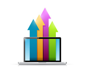 laptop and up business color arrows illustration