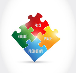 marketing puzzle pieces illustration design