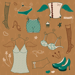 Vector woman  clothes set